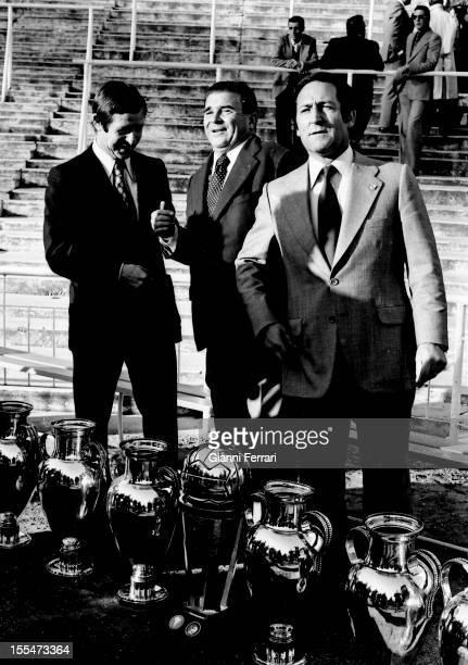 75th Anniversary of Real Madrid: Raymond Kopa, Ferenc Puskas and Paco Gento in Santiago Bernabéu Stadium, with six European Cups Madrid, Castilla la...