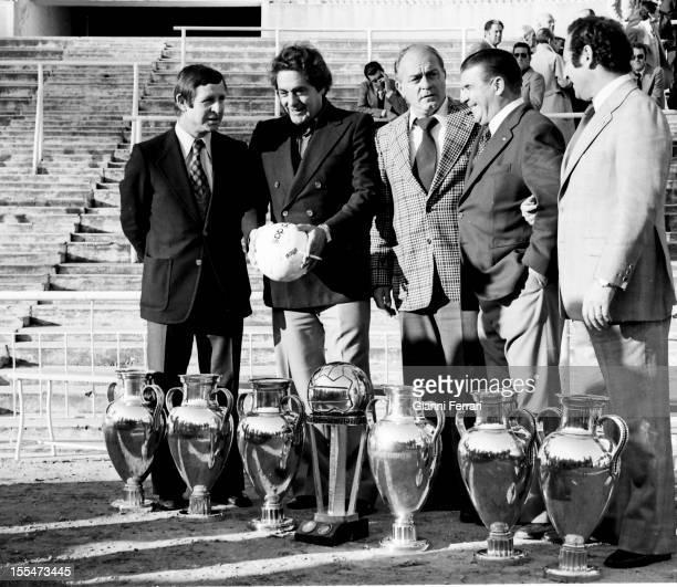 75th Anniversary of Real Madrid: Raymond Kopa, Jose Hector Rial, Alfredo Di Stefano, Ferenc Puskas and Paco Gento in Santiago Bernabéu Stadium, with...