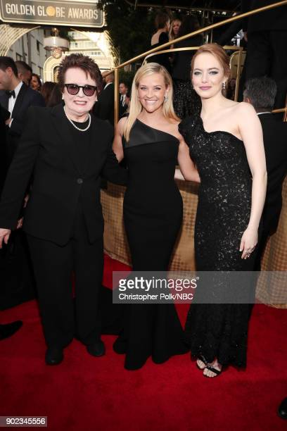 75th ANNUAL GOLDEN GLOBE AWARDS Pictured Activist Billie Jean King and actors Reese Witherspoon and Emma Stone arrive to the 75th Annual Golden Globe...