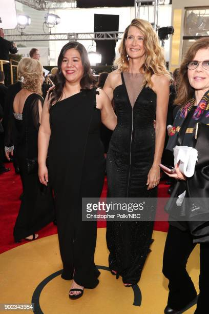 75th ANNUAL GOLDEN GLOBE AWARDS Pictured Activist Monica Ramirez and actor Laura Dern arrive to the 75th Annual Golden Globe Awards held at the...