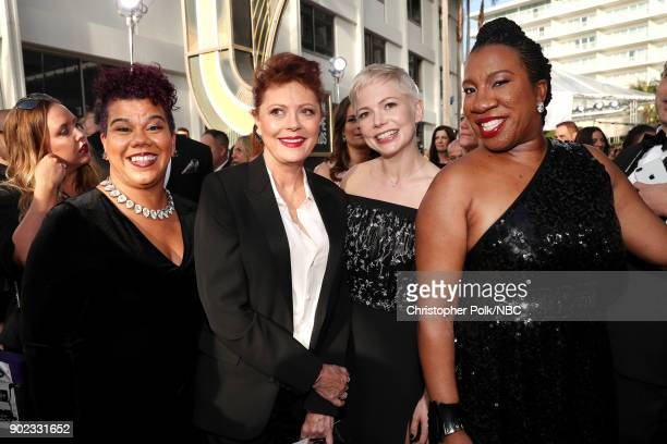 75th ANNUAL GOLDEN GLOBE AWARDS Pictured Activist Rosa Clemente actors Susan Sarandon and Michelle Williams and activist Tarana Burke arrive to the...