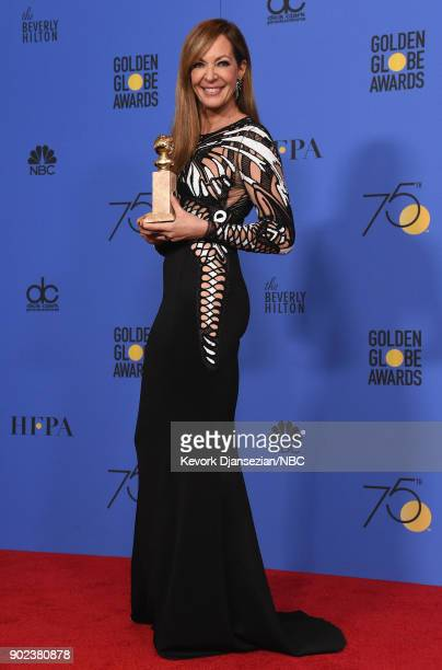 75th ANNUAL GOLDEN GLOBE AWARDS Pictured Actor Allison Janney poses with the Best Performance by an Actress in a Supporting Role in any Motion...