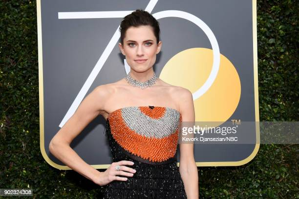 75th ANNUAL GOLDEN GLOBE AWARDS Pictured Actor Allison Williams arrives to the 75th Annual Golden Globe Awards held at the Beverly Hilton Hotel on...