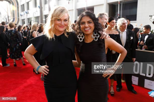 75th ANNUAL GOLDEN GLOBE AWARDS Pictured Actor Amy Poehler and Saru Jayaraman arrive to the 75th Annual Golden Globe Awards held at the Beverly...