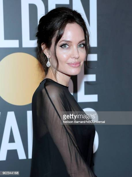 75th ANNUAL GOLDEN GLOBE AWARDS Pictured Actor Angelina Jolie arrives to the 75th Annual Golden Globe Awards held at the Beverly Hilton Hotel on...