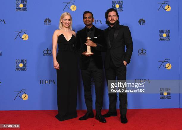 75th ANNUAL GOLDEN GLOBE AWARDS Pictured Actor Aziz Ansari poses with Best Performance by an Actor in a Television Series Musical or Comedy award for...
