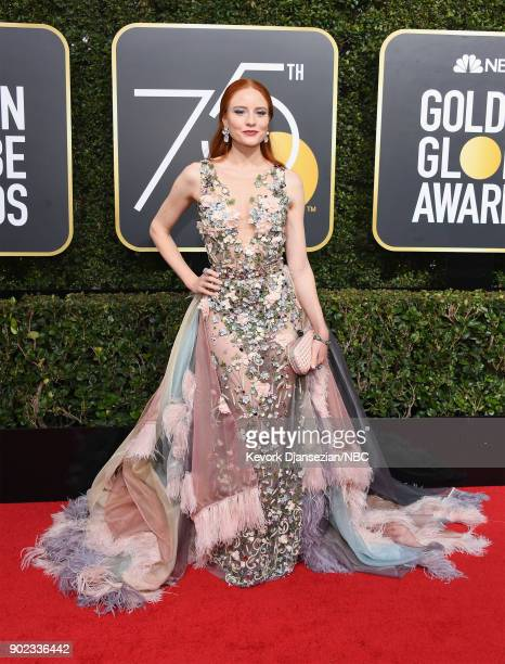 75th ANNUAL GOLDEN GLOBE AWARDS Pictured Actor Barbara Meier arrives to the 75th Annual Golden Globe Awards held at the Beverly Hilton Hotel on...