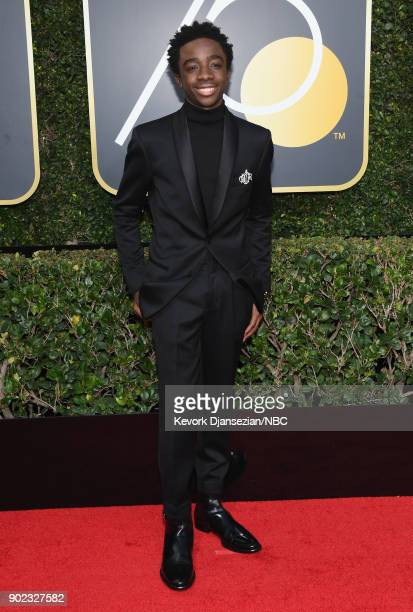 75th ANNUAL GOLDEN GLOBE AWARDS Pictured Actor Caleb McLaughlin arrives to the 75th Annual Golden Globe Awards held at the Beverly Hilton Hotel on...
