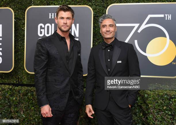 75th ANNUAL GOLDEN GLOBE AWARDS Pictured Actor Chris Hemsworth and director Taika Waititi arrive to the 75th Annual Golden Globe Awards held at the...