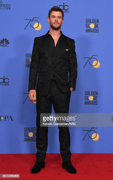 75th ANNUAL GOLDEN GLOBE AWARDS Pictured Actor Chris Hemsworth poses in the press room at the 75th Annual Golden Globe Awards held at the Beverly...