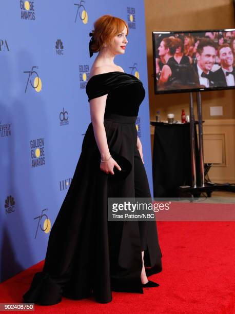 75th ANNUAL GOLDEN GLOBE AWARDS Pictured Actor Christina Hendricks poses in the press room at the 75th Annual Golden Globe Awards held at the Beverly...