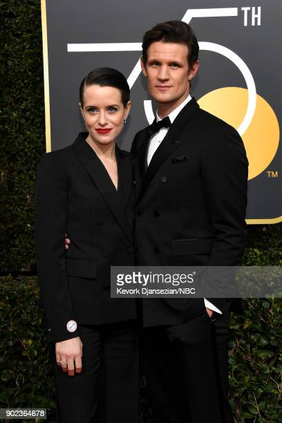 75th ANNUAL GOLDEN GLOBE AWARDS Pictured Actor Claire Foy and Matt Smith arrive to the 75th Annual Golden Globe Awards held at the Beverly Hilton...