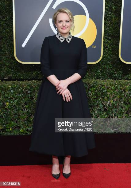 75th ANNUAL GOLDEN GLOBE AWARDS Pictured Actor Elisabeth Moss arrives to the 75th Annual Golden Globe Awards held at the Beverly Hilton Hotel on...