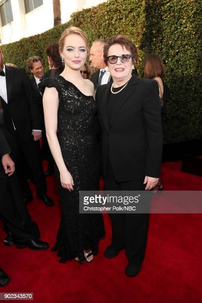 75th ANNUAL GOLDEN GLOBE AWARDS Pictured Actor Emma Stone and activist Billie Jean King arrive to the 75th Annual Golden Globe Awards held at the...