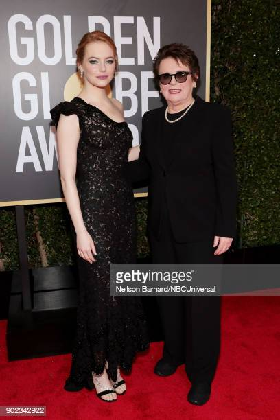 75th ANNUAL GOLDEN GLOBE AWARDS Pictured Actor Emma Stone and tennis player Billie Jean King arrive to the 75th Annual Golden Globe Awards held at...