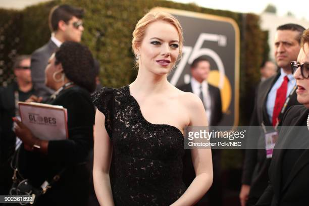 75th ANNUAL GOLDEN GLOBE AWARDS Pictured Actor Emma Stone arrives to the 75th Annual Golden Globe Awards held at the Beverly Hilton Hotel on January...