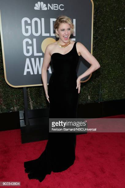 75th ANNUAL GOLDEN GLOBE AWARDS Pictured Actor Greta Gerwig arrives to the 75th Annual Golden Globe Awards held at the Beverly Hilton Hotel on...