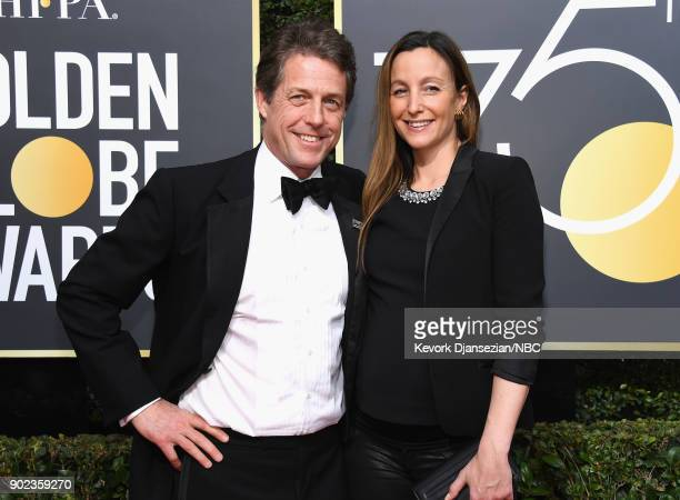 75th ANNUAL GOLDEN GLOBE AWARDS Pictured Actor Hugh Grant and producer Anna Eberstein arrive to the 75th Annual Golden Globe Awards held at the...