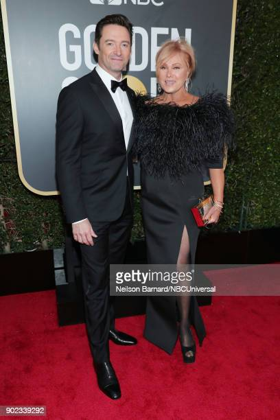75th ANNUAL GOLDEN GLOBE AWARDS Pictured Actor Hugh Jackman and actorproducer Deborralee Furness arrive to the 75th Annual Golden Globe Awards held...