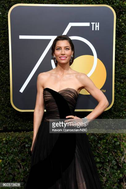 75th ANNUAL GOLDEN GLOBE AWARDS Pictured Actor Jessica Biel arrives to the 75th Annual Golden Globe Awards held at the Beverly Hilton Hotel on...