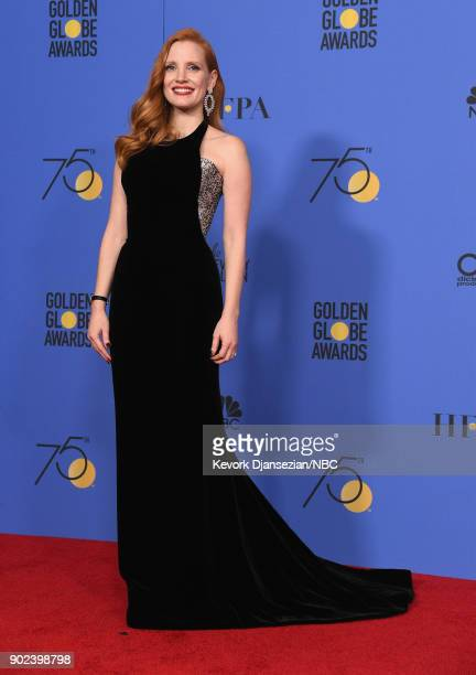 75th ANNUAL GOLDEN GLOBE AWARDS Pictured Actor Jessica Chastain poses in the press room at the 75th Annual Golden Globe Awards held at the Beverly...