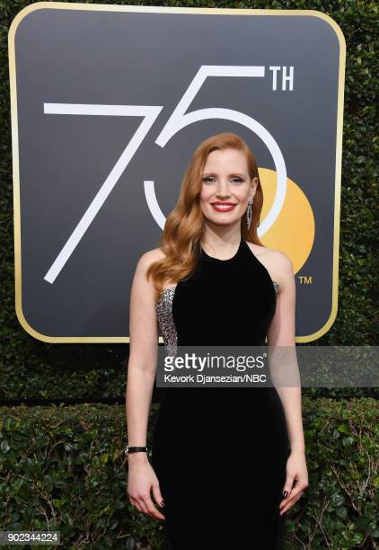 75th ANNUAL GOLDEN GLOBE AWARDS Pictured Actor Jessica Chastain arrives to the 75th Annual Golden Globe Awards held at the Beverly Hilton Hotel on...