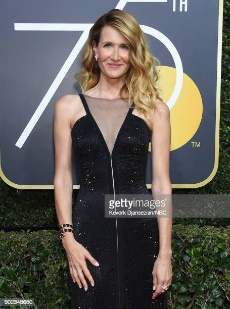 75th ANNUAL GOLDEN GLOBE AWARDS -- Pictured: Actor Laura Dern arrives to the 75th Annual Golden Globe Awards held at the Beverly Hilton Hotel on...