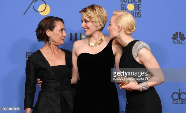 75th ANNUAL GOLDEN GLOBE AWARDS Pictured Actor Laurie Metcalf director Greta Gerwig and actor Saoirse Ronan pose with Best Motion Picture Musical or...