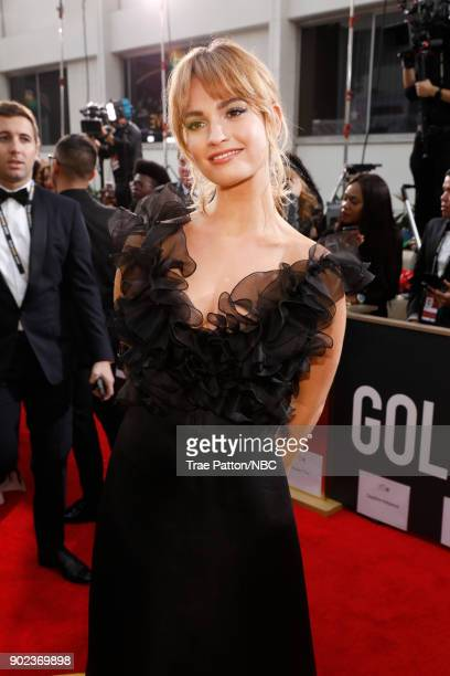 75th ANNUAL GOLDEN GLOBE AWARDS Pictured Actor Lily James arrives to the 75th Annual Golden Globe Awards held at the Beverly Hilton Hotel on January...