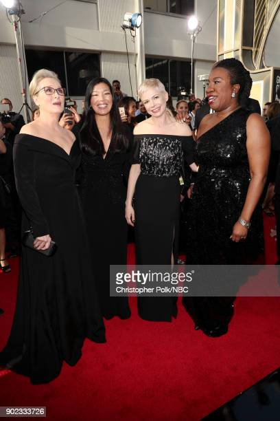 75th ANNUAL GOLDEN GLOBE AWARDS Pictured Actor Meryl Streep activist Aijen Poo actor Michelle Williams and activist Tarana Burke arrive to the 75th...