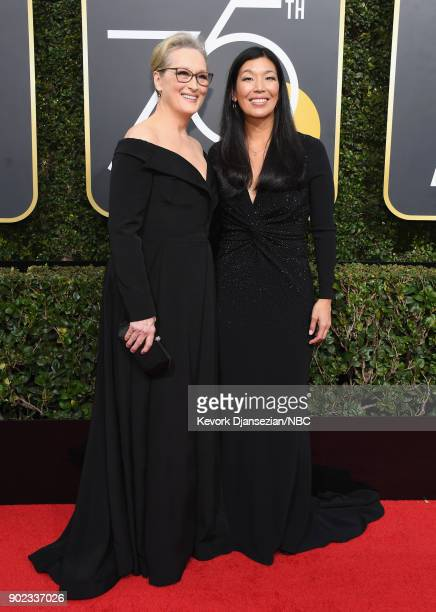 75th ANNUAL GOLDEN GLOBE AWARDS Pictured Actor Meryl Streep and director of the National Domestic Workers Alliance Aijen Poo arrive to the 75th...