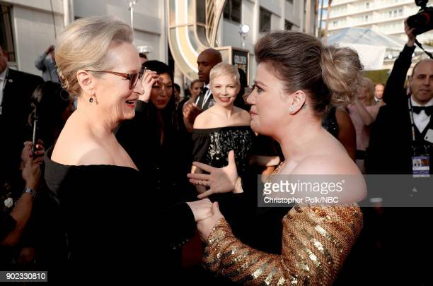 75th ANNUAL GOLDEN GLOBE AWARDS Pictured Actor Meryl Streep and singer Kelly Clarkson arrive to the 75th Annual Golden Globe Awards held at the...