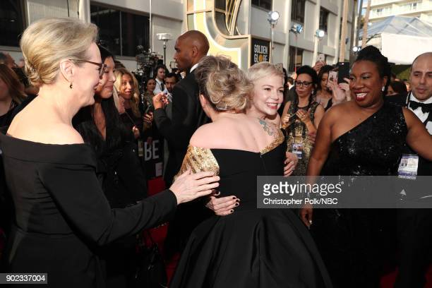 75th ANNUAL GOLDEN GLOBE AWARDS Pictured Actor Meryl Streep singer Kelly Clarkson actor Michelle Williams and activist Tarana Burke arrive to the...
