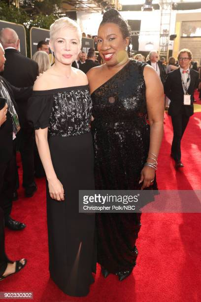 75th ANNUAL GOLDEN GLOBE AWARDS Pictured Actor Michelle Williams and activist Tarana Burke arrive to the 75th Annual Golden Globe Awards held at the...