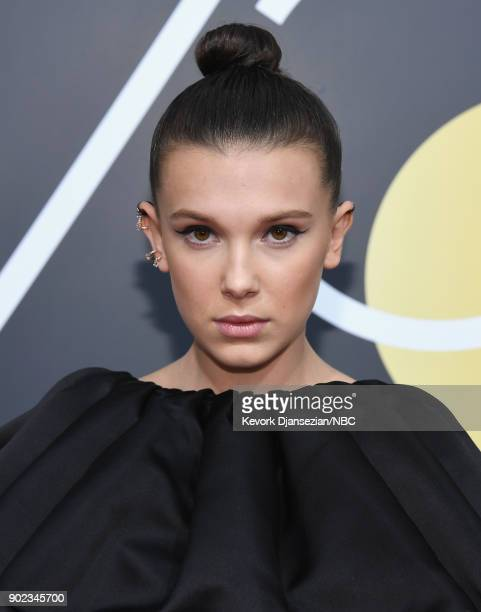 75th ANNUAL GOLDEN GLOBE AWARDS Pictured Actor Millie Bobby Brown arrives to the 75th Annual Golden Globe Awards held at the Beverly Hilton Hotel on...