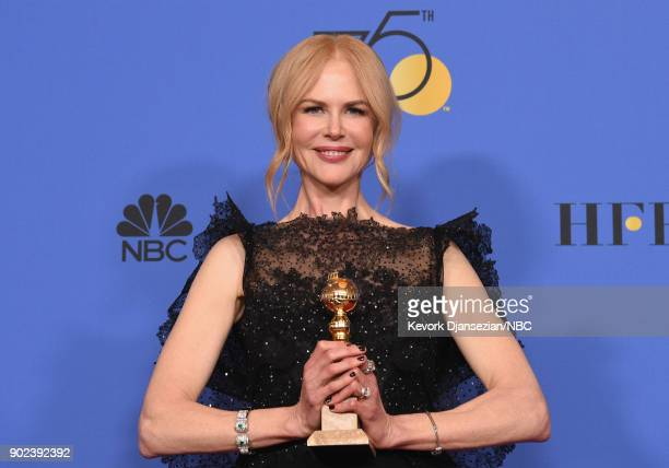 75th ANNUAL GOLDEN GLOBE AWARDS -- Pictured: Actor Nicole Kidman poses with the Best Performance by an Actress in a Limited Series or a Motion...