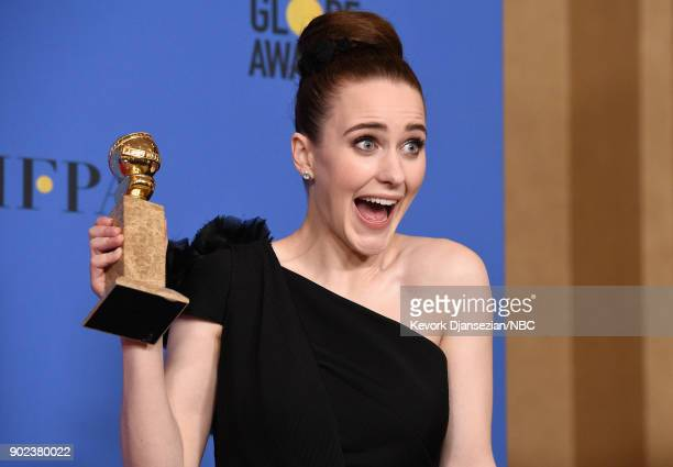75th ANNUAL GOLDEN GLOBE AWARDS Pictured Actor Rachel Brosnahan poses with the Best Performance by an Actress in a Television Series Musical or...