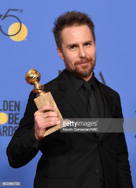 75th ANNUAL GOLDEN GLOBE AWARDS Pictured Actor Sam Rockwell poses with best supporting actor award for 'Three Billboards Outside Ebbing Missouri' in...
