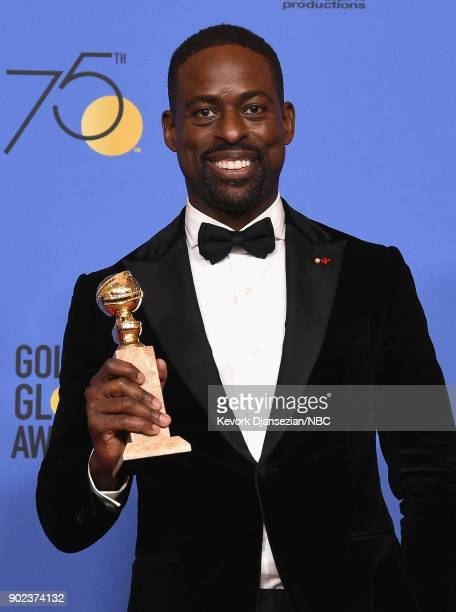 75th ANNUAL GOLDEN GLOBE AWARDS Pictured Actor Sterling K Brown poses with the Best Performance by an Actor In A Television Series Drama award for...