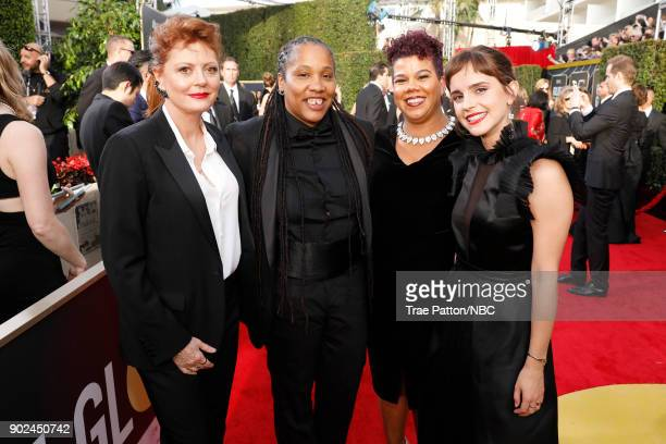 75th ANNUAL GOLDEN GLOBE AWARDS Pictured Actor Susan Sarandon activists Marai Larasi Rosa Clemente and actor Emma Watson arrive to the 75th Annual...