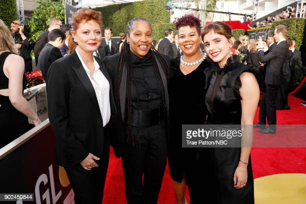 75th ANNUAL GOLDEN GLOBE AWARDS Pictured Actor Susan Sarandon activists Marai Larasi and Rosa Clemente and actor Emma Watson arrive to the 75th...