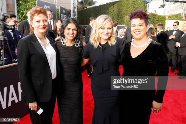 75th ANNUAL GOLDEN GLOBE AWARDS Pictured Actor Susan Sarandon activist Saru Jayaraman actor Amy Poehler and activist Rosa Clemente arrive to the 75th...
