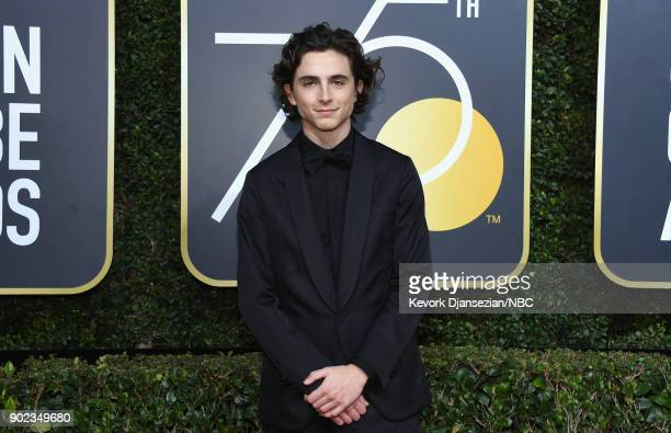 75th ANNUAL GOLDEN GLOBE AWARDS Pictured Actor Timothee Chalamet arrives to the 75th Annual Golden Globe Awards held at the Beverly Hilton Hotel on...