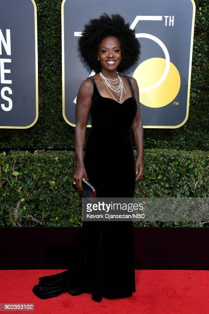 75th ANNUAL GOLDEN GLOBE AWARDS -- Pictured: Actor Viola Davis arrives to the 75th Annual Golden Globe Awards held at the Beverly Hilton Hotel on...