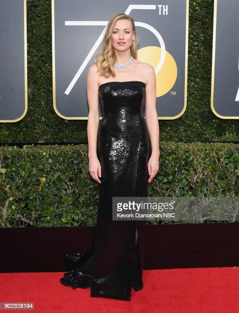 75th ANNUAL GOLDEN GLOBE AWARDS Pictured Actor Yvonne Strahovski arrives to the 75th Annual Golden Globe Awards held at the Beverly Hilton Hotel on...
