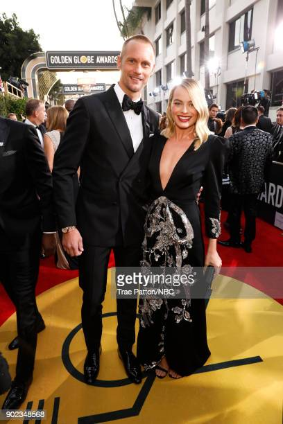 75th ANNUAL GOLDEN GLOBE AWARDS Pictured Actors Alexander Skarsgård and Margot Robbie arrive to the 75th Annual Golden Globe Awards held at the...