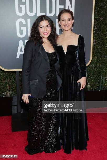 75th ANNUAL GOLDEN GLOBE AWARDS Pictured Actors America Ferrera and Natalie Portman arrive to the 75th Annual Golden Globe Awards held at the Beverly...