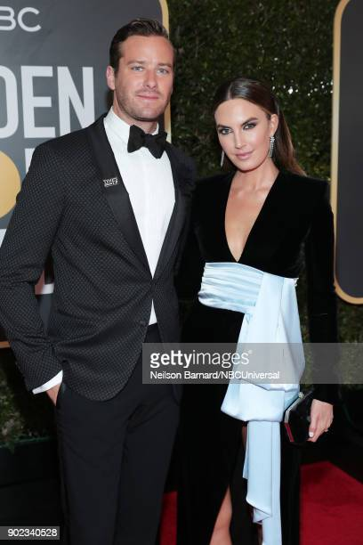 75th ANNUAL GOLDEN GLOBE AWARDS Pictured Actors Armie Hammer and Elizabeth Chambers arrive to the 75th Annual Golden Globe Awards held at the Beverly...