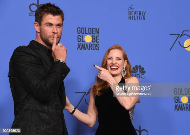 75th ANNUAL GOLDEN GLOBE AWARDS Pictured Actors Chris Hemsworth and Jessica Chastain pose in the press room at the 75th Annual Golden Globe Awards...