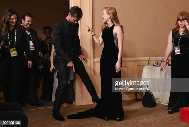 75th ANNUAL GOLDEN GLOBE AWARDS Pictured Actors Chris Hemsworth and Jessica Chastain in the press room at the 75th Annual Golden Globe Awards held at...